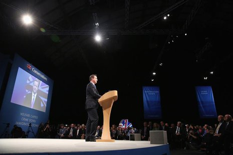 Britain's Prime Minister David Cameron delivers his keynote address to the Conservative Party annual conference in Manchester, northern Engl