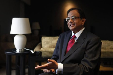 India's Finance Minister P. Chidambaram speaks during an interview with Reuters at a hotel during his visit for the G20 meeting in Mexico Ci