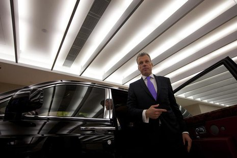 Torsten Mueller Oetvoes, chief executive officer of Rolls-Royce Motor Cars Ltd., attends an interview at a Rolls-Royce showroom in Hong Kong
