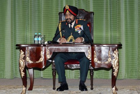 India's army chief General Bikram Singh speaks during a news conference in New Delhi January 14, 2013. REUTERS/Stringer