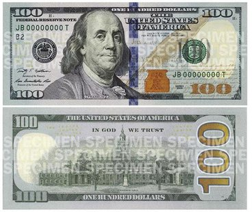 A combination photo shows the front and back of the newly designed $100 bill in these handout pictures obtained on April 24, 2013. REUTERS/U