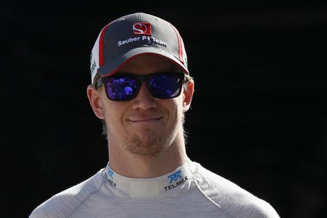 Sauber Formula One driver Nico Hulkenberg of Germany looks on during during the second practice session of the Monaco F1 Grand Prix May 23,