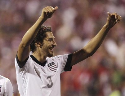 United States' Omar Gonzalez celebrates their 2-0 victory over Mexico in their FIFA World Cup qualifying soccer match in Columbus, Ohio Sept