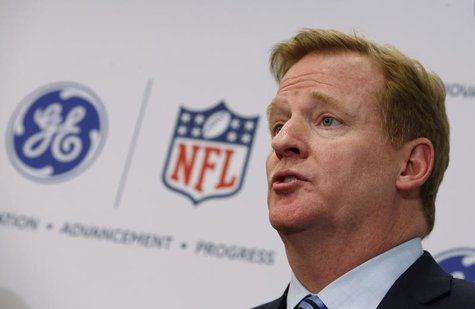 Roger Goodell, Commissioner of the National Football League (NFL) speaks at a news conference announcing the Head Health Initiative, a colla