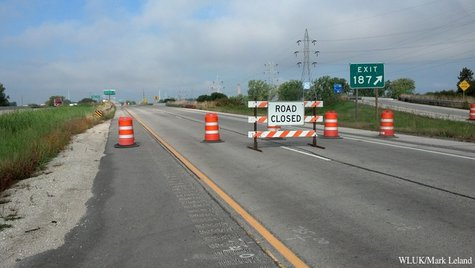 Westbound Interstate 43 is closed at the Webster Ave. off-ramp in Green Bay Sept. 25, 2013, after a dip was found in the Leo Frigo Bridge. (Photo by: FOX 11).