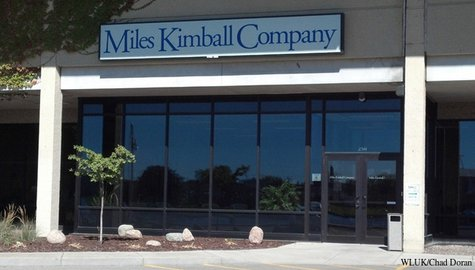 The entrance to Miles Kimball's offices in Oshkosh is seen, Oct. 8, 2013. (Photo by: FOX 11).
