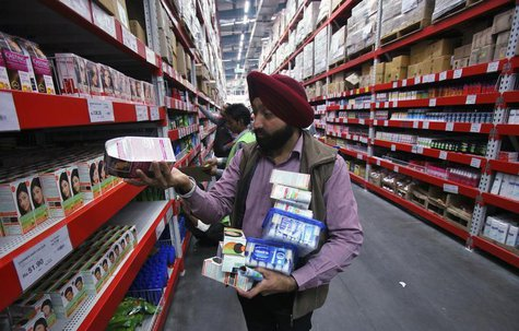 A customer shops at a Best Price Modern Wholesale store, a joint venture of Wal-Mart Stores Inc and Bharti Enterprises, at Zirakpur in the n