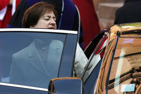 U.S. Supreme Court Justice Elena Kagan departs following the annual Red Mass at the Cathedral of Saint Matthew in Washington, October 6, 201