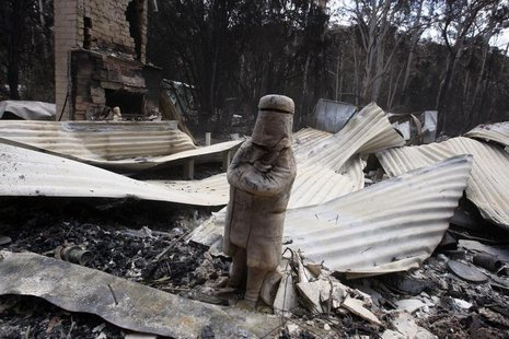 A figurine of Australia's most famous outlaw Ned Kelly is seen in the remains of a house destroyed by bushfires in the town of Flowerdale, 8