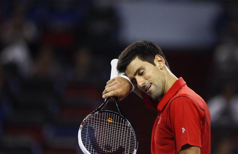 Novak Djokovic of Serbia reacts after winning a point during his men's singles tennis match against Marcel Granollers of Spain at the Shangh