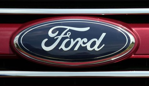 A Ford logo is pictured at a press event to unveil the new 2011 Ford Explorer outside the Ford Motor World Headquarters in Dearborn, Michiga