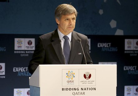 Chief FIFA inspector Harold Mayne-Nicholls speaks during a news conference for the FIFA Inspection Visit for the Qatar 2022 World Cup Bid in