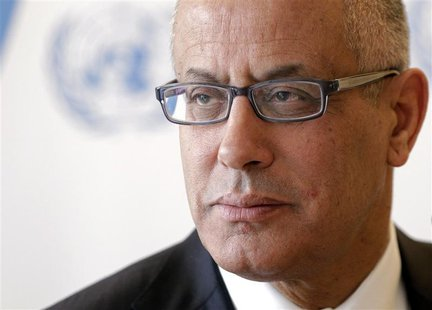 Libyan Prime Minister Ali Zeidan pauses after his address to the 22nd session of the Human Rights Council at the United Nations in Geneva, i