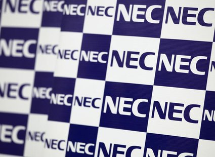 NEC Corp's logos are pictured during a news conference in Tokyo October 26, 2012. REUTERS/Yuriko Nakao
