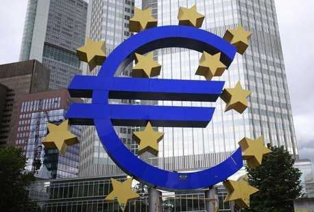 A structure showing the Euro currency sign is seen in front of the European Central Bank (ECB) headquarters in Frankfurt July 11, 2012. REUT
