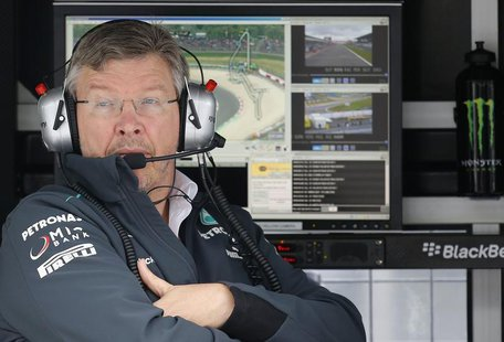 Mercedes Formula One team principal Ross Brawn looks on during the first practice session of the German F1 Grand Prix at the Nuerburgring ra
