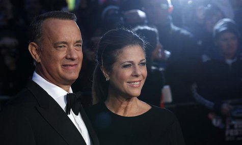 "Actor Tom Hanks and his wife Rita Wilson arrive for the European premiere of ""Captain Phillips"", on the opening night of the London Film Fes"