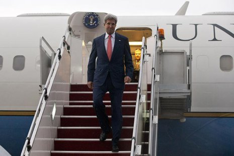 U.S. Secretary of State John Kerry arrives at the Royal Malaysian Air Force (TUDM) base in Subang, outside Kuala Lumpur, October 10, 2013. R