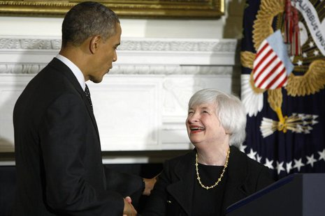 U.S. President Barack Obama (L) shakes hands with Janet Yellen (R) after announcing her nomination to head the Federal Reserve at the White