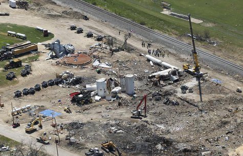 The site of a fertilizer plant explosion in West, Texas is pictured from the air as U.S. President Barack Obama and First Lady Michelle Obam