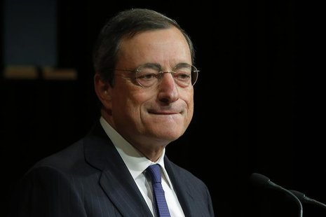 Mario Draghi, president of the European Central Bank, listens to a question from student in the audience following a speech at the John F. K