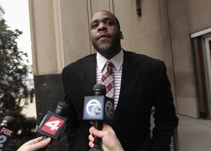 Former Detroit Mayor Kwame Kilpatrick leaves the U.S. District Court after he was convicted on federal racketeering and other charges in Det