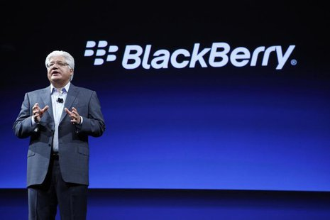 Mike Lazaridis, President and Co-CEO of Research In Motion, speaks during BlackBerry's DevCon at the Moscone West Center in San Francisco, C