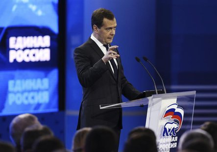 Russian Prime Minister Dmitry Medvedev speaks during the United Russia political party convention in Moscow October 5, 2013. REUTERS/Sergei