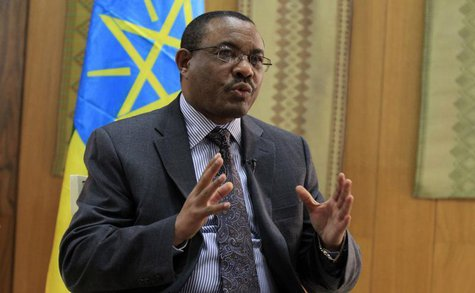 Ethiopian Prime Minister Hailemariam Desalegn speaks during an interview with Reuters inside his office in the capital Addis Ababa, October