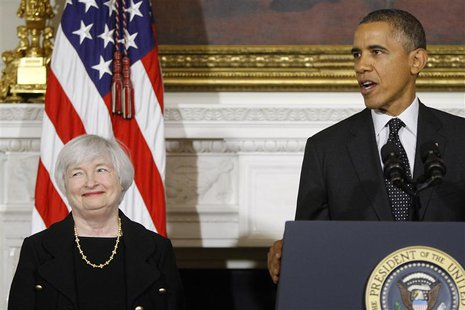 U.S. President Barack Obama (R) announces his nomination of Janet Yellen (L) to head the Federal Reserve at the White House in Washington Oc