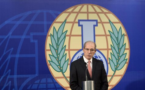Organisation for the Prohibition of Chemical Weapons (OPCW) Director General Ahmet Uzumcu speaks during a news conference in The Hague, Octo