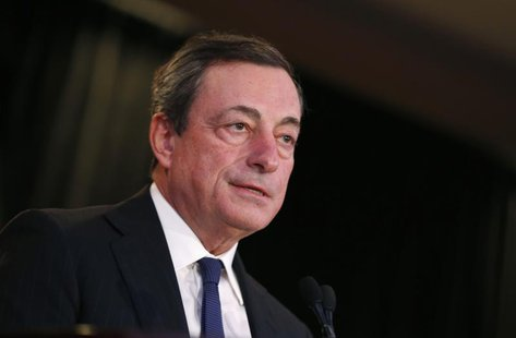 Mario Draghi, President of the European Central Bank, addresses the Economic Club of New York luncheon in New York City, October 10, 2013. R