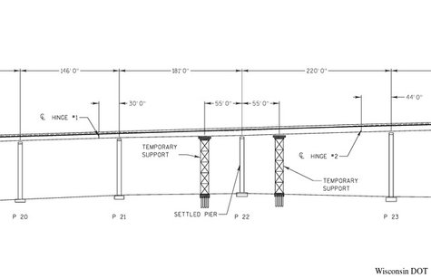 A diagram of steel truss towers to be installed at the sagging section of the Leo Frigo Bridge in Green Bay. (Photo by: Wisconsin DOT).