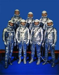 "The original seven Mercury astronaut pose at NASA Langley Research Center in this undated NASA handout file photo. Back row from left, are: Alan Shepard, Virgil ""Gus"" Grissom and L. Gordon Cooper; front row, Walter Schirra, Donald ""Deke"" Slayton, John Glenn and Scott Carpenter. Carpenter, who orbited Earth in 1962, died October 10, 2013 in a Denver hospice center at age 88 of complications from a stroke, his wife Patty Carpenter said.  REUTERS/NASA/Handout"