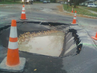 Sinkhole on Moorhead street