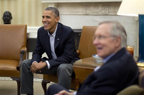U.S. President Barack Obama meets U.S. Senate Democrats including Senate Majority Leader Harry Reid (D-NV) (R) in the Oval Office of the Whi
