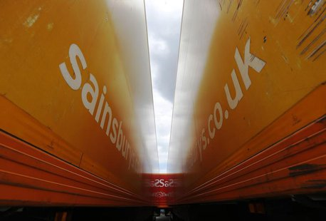 Sainsbury's supermarket trailers are seen parked at the new Sainsbury's distribution centre at Thameside in east London June 25, 2013. REUTE