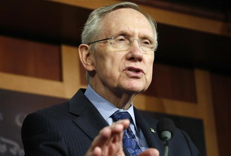 U.S. Senate Majority Leader Harry Reid (D-NV) addresses reporters at a news conference at the U.S. Capitol in Washington, October 12, 2013.