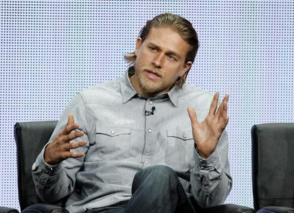 "Cast member Charlie Hunnam speaks at a panel for the television series ""Sons of Anarchy"" during the FX portion of the Television Critics Ass"