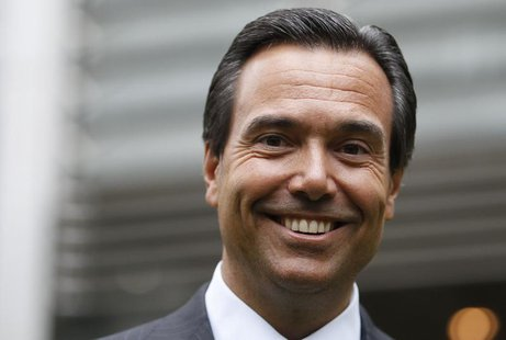 Lloyds Banking Group CEO Antonio Horta Osorio poses outside the bank's headquarters on his first day back at work after taking a leave of ab