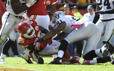 Oct 13, 2013; Kansas City, MO, USA; Kansas City Chiefs running back Jamaal Charles (25) scores a touchdown against Oakland Raiders defensive