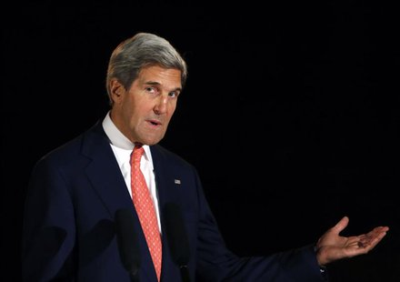 U.S. Secretary of State John Kerry speaks during a joint news conference with Afghanistan's President Hamid Karzai (not pictured) in Kabul O