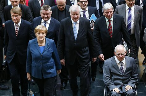 Members of Germany's conservative (CDU/CSU) parties arrive for preliminary coalition with the Social Democratic Party (SPD) at the Parliamen