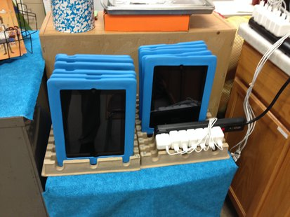 Some of the tablets waiting to be used at Random Lake Elementary.