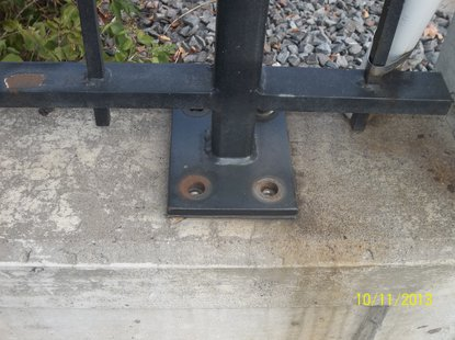 Bolts stolen from Washington Street bridge pedestrian rails.  Photo: Wausau Police