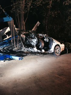 The car was severely damaged in the crash.