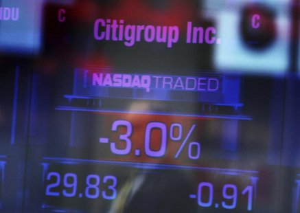 Citigroup Inc. stock prices are seen on a screen inside the NASDAQ building at Times Square in New York January 17, 2012. REUTERS/Shannon St