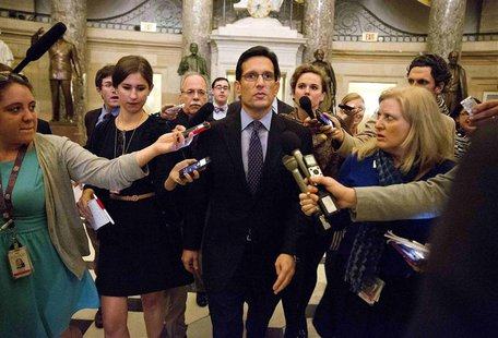 House Majority Leader Eric Cantor (R-VA) speaks to reporters during the 14th day of the partial government shut down in Washington on Octobe