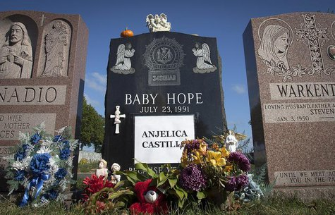"The tombstone of Anjelica ""Baby Hope"" Castillo is seen in the Bronx borough of New York, October 13, 2013. REUTERS/Carlo Allegri"