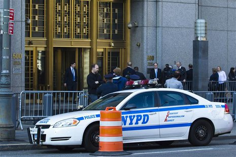 An NYPD car is seen outside Manhattan's federal court where Nazih al-Ragye, known by the alias Abu Anas al-Liby, is expected for arraignment